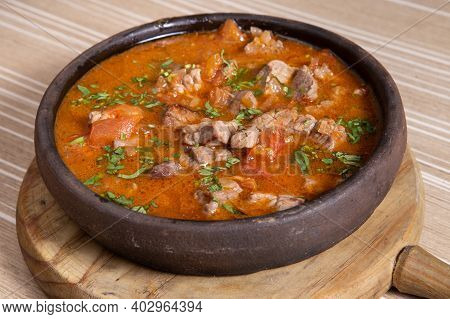 Georgian Dish Called Chashushuli, Spicy Meat, Georgian Cuisine