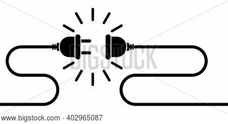 Electric Socket With Plug Vector Illustration. Electrical Outlet Vector Icon Isolated On White Backg