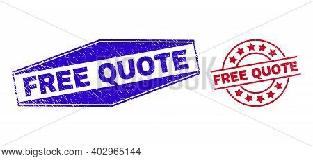 Free Quote Stamps. Red Circle And Blue Flattened Hexagonal Free Quote Watermarks. Flat Vector Textur