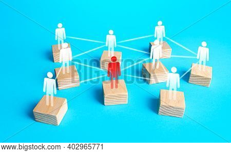 Red Figurine Of A Person In The Network Of Company Employees. Inability To Perform Functions And Wor