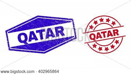 Qatar Badges. Red Circle And Blue Squeezed Hexagonal Qatar Rubber Imprints. Flat Vector Scratched St