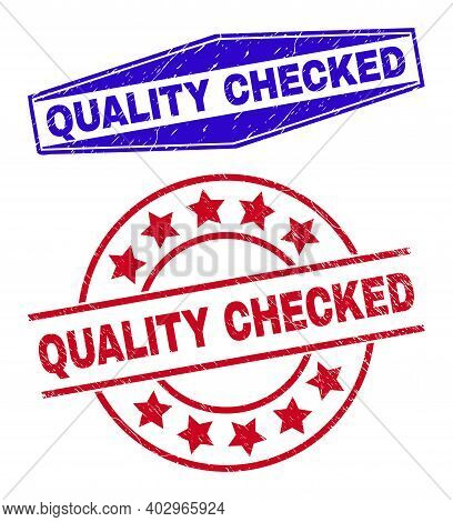 Quality Checked Stamps. Red Round And Blue Compressed Hexagon Quality Checked Rubber Imprints. Flat