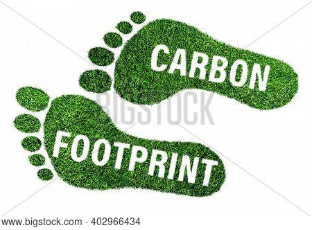 Carbon Footprint Concept, Barefoot Footprint Made Of Lush Green Grass With Text Isolated On White Ba