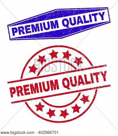 Premium Quality Stamps. Red Round And Blue Flatten Hexagonal Premium Quality Rubber Imprints. Flat V