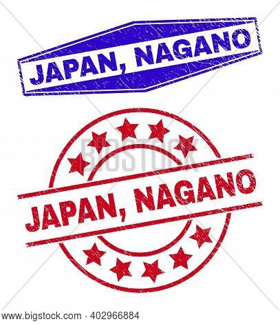 Japan, Nagano Stamps. Red Round And Blue Flatten Hexagonal Japan, Nagano Watermarks. Flat Vector Dis