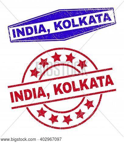 India, Kolkata Badges. Red Rounded And Blue Extended Hexagonal India, Kolkata Rubber Imprints. Flat