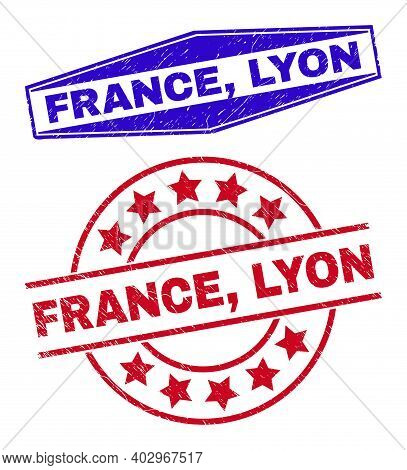 France, Lyon Stamps. Red Rounded And Blue Squeezed Hexagonal France, Lyon Watermarks. Flat Vector Gr