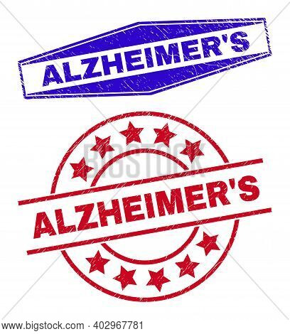 Alzheimers Stamps. Red Circle And Blue Squeezed Hexagon Alzheimers Seal Stamps. Flat Vector Distress
