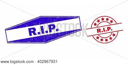 R.i.p. Stamps. Red Rounded And Blue Flattened Hexagonal R.i.p. Seal Stamps. Flat Vector Scratched Se