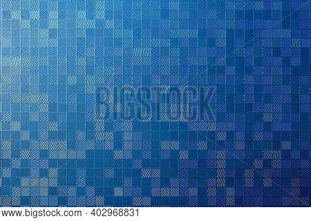 The Parallels Line Texture On The Blue Background  Surface. The Multi-degree Incline Line With Blue