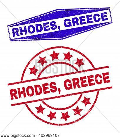 Rhodes, Greece Stamps. Red Circle And Blue Extended Hexagonal Rhodes, Greece Watermarks. Flat Vector