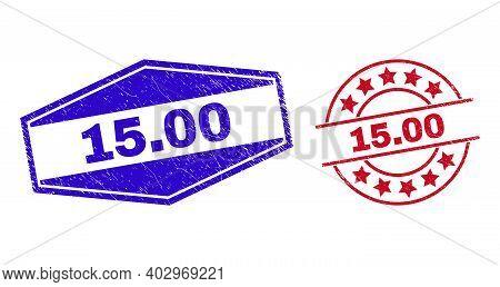 15.00 Stamps. Red Circle And Blue Flatten Hexagonal 15.00 Rubber Imprints. Flat Vector Grunge Seals