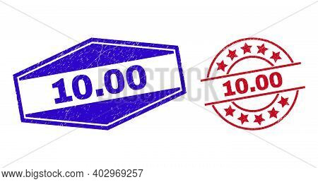 10.00 Badges. Red Round And Blue Compressed Hexagonal 10.00 Seals. Flat Vector Textured Watermarks W