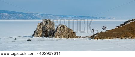 Shamanic Ritual On The Olkhon Island On The Baikal Lake, In Russia. Panoramic View Of The Sacred And
