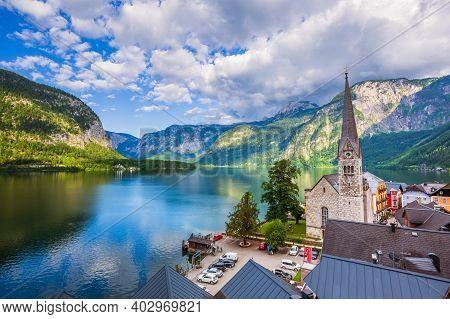 Hallstatt, Austria. Hallstatter See Or Lake Hallstatt In The Salzkammergut Resort Area.