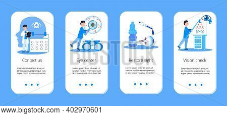 Medical Ophthalmologist Concept Vector. Eyesight Check Up With Tiny People Character Concept For App