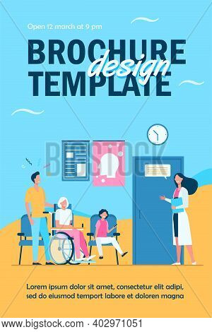 Patients In Hospital Waiting In Line Flat Vector Illustration. Cartoon Characters Talking With Nurse