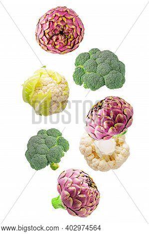 Set Of Flying Fresh Vegetable Ingredients Isolated On White Background