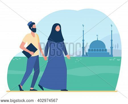 Muslim People Going To Mosque. Islam, Hijab, Worship Flat Vector Illustration. Religion And Traditio