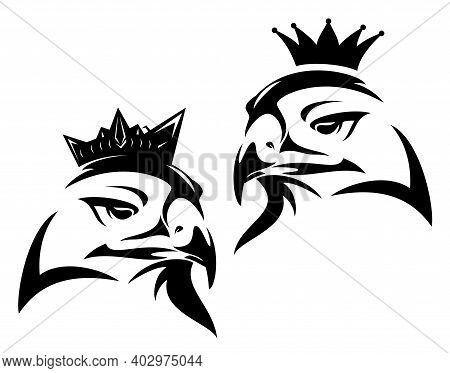 Elegant Bird Head And Royal Crown - King Eagle, Hawk Or Falcon Black And White Evctor Outline Portra