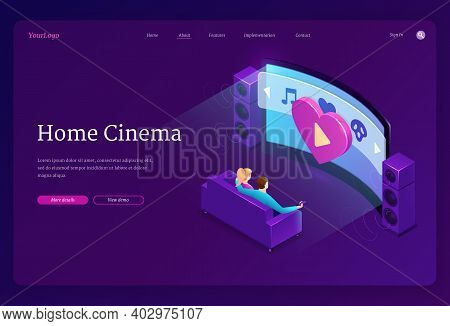 Home Cinema Isometric Landing Page. Family Sitting On Sofa Watch Huge Tv With Dynamics System In Liv