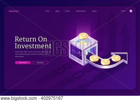 Return On Investment Banner. Concept Of Revenue Growth From Funds, Increase Financial Capital. Vecto