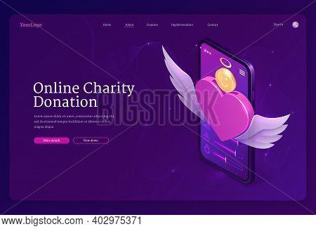 Online Charity Donation Banner. Mobile App For Financial Donate, Fundraiser, Volunteer Help. Vector