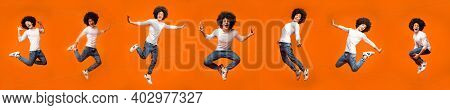 Row Of Shots Of Funny Millennial Guy Jumping And Having Fun Posing In Mid-air On Orange Studio Backg