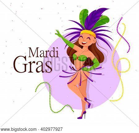 Mardi Gras Carnival. Cute Lady Dancer. Woman In Traditional Clothes Dancing On Mardi Gras Festival.
