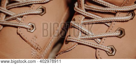 Close Up Of Detail Shoelaces On The Shoes, Macro