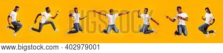 Collage Of Funny African American Guy Jumping In Mid-air Posing And Having Fun Over Yellow Studio Ba