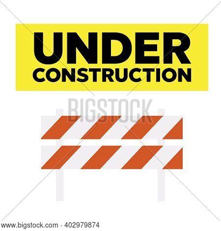 Website Under Construction Page. Warning Tape Banner