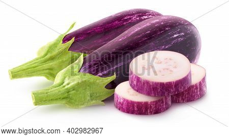 Isolated Cut Eggplants. Two Whole Raw Aubergines And Three Slices Isolated On White Background