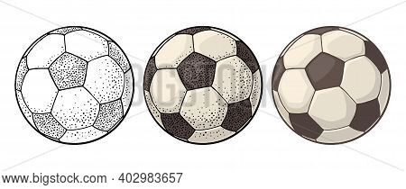 Soccer Ball. Vintage Vector Engraving Color Illustration. Isolated On White