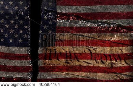 Distressed Us Flag Split In Two With We The People Constitution Text-- American Political Division C