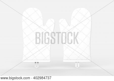 Oven Mitts. Kitchen Oven Gloves Mitts. Blank 3d Template, Mockup For Branding, Design Isolated On Wh