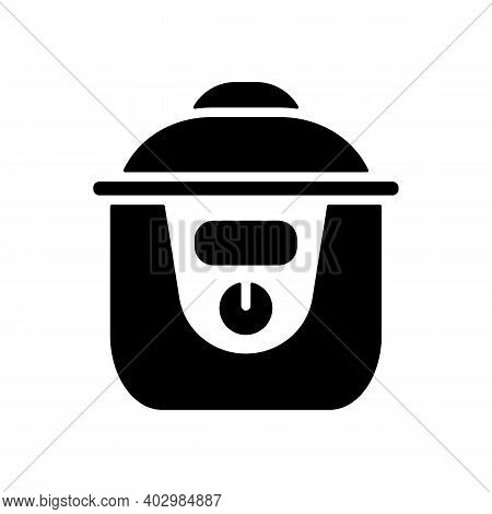 Slow Cooking Crock Pot Vector Glyph Icon. Electric Kitchen Appliance. Graph Symbol For Cooking Web S