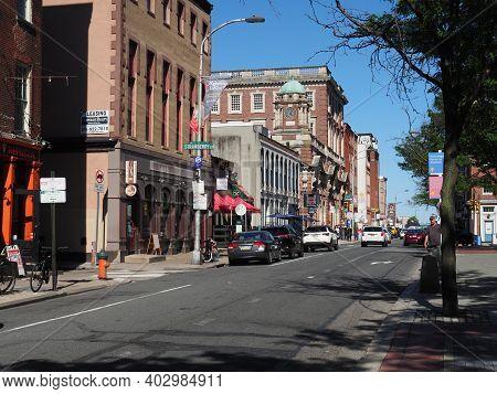Philadelphia, Usa - June 11, 2019: Image Of The Corn Exchange National Bank Located On Chestnut Stre