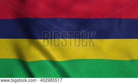 Mauritius Flag Waving In The Wind. National Flag Of Mauritius. 3d Illustration.