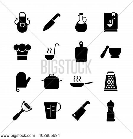 Cooking Foods And Kitchen Vector Icon Glyph Set. Graph Symbol For Cooking Web Site And Apps Design,
