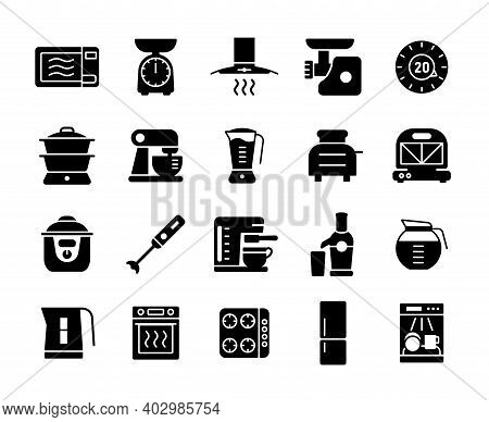 Kitchen Appliances Electronic Electrical Equipment Tool Vector Icon Glyph Set. Graph Symbol For Cook