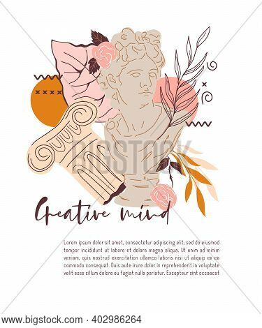 Card Design With Decorative Creative Image Of Statue Of Greek God, Apollo. Decorative Card Or Poster