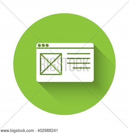 White Browser Window Icon Isolated With Long Shadow. Green Circle Button. Vector