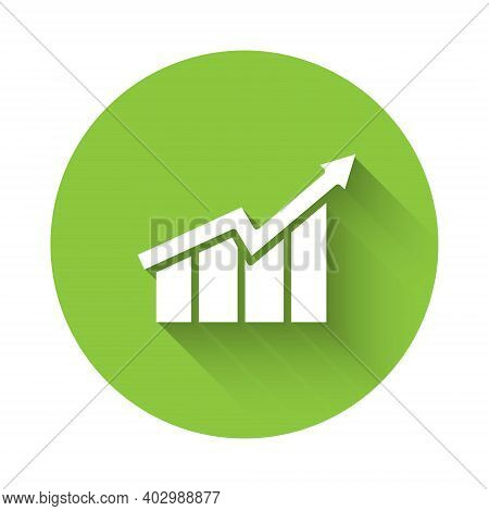 White Financial Growth Increase Icon Isolated With Long Shadow. Increasing Revenue. Green Circle But