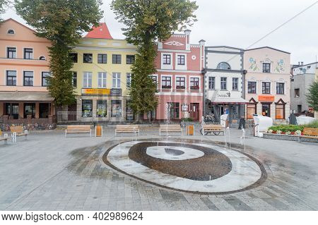 Puck, Poland - September 20, 2020: View On Water Fountain At Market Square In Puck.