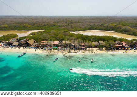 The Paradies Beach Of Playa Blanca On Island Baru By Cartagena In Colombia Aerial View