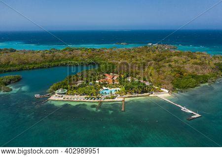 Isla Grande Rosario Archipelago Cartagena Colombia Aerial View.