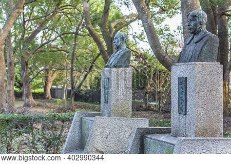 Tokyo, Japan - December 08 2020: Statues Of Generals Yoshitoshi Tokugawa And Hino Kumazo Flew The Fi