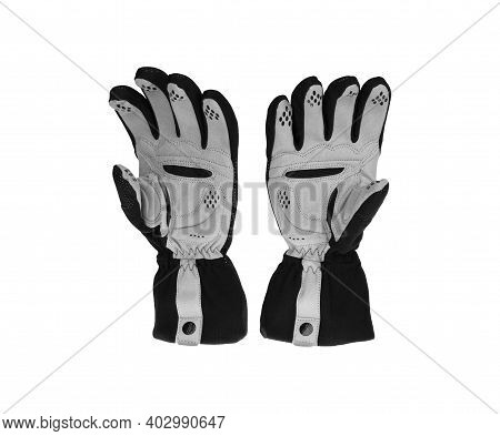 A Pair Of Winter Sport Black And Grey Cycling Gloves Isolated On White Background.
