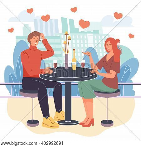 Vector Cartoon Flat Characters Lovers Couple, Trendy Young People In Love Talking, Girl And Boy Roma